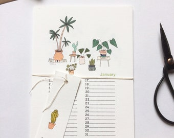 Birthday Calendar Perpetual calendar - Plants, house plants, cactus, succulents, monstera, plants illustrations, perpetual wall calendar