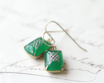 Art Deco earrings vintage jade green glass marcasite look 1920's antique style art nouveau brass gems