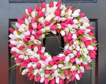SPRING WREATH SALE Spring Wreath- Tulip Spring Wreath- Summer Wreath- Custom Front Door Wreath- Spring Decor- Easter Decoration- Outdoor Wre
