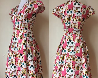 Lucky Cats Retro Style Dress Medium, and Large