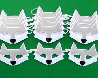 Wolf Masks - Party Pack - 15 Masks - Kid's Mask - Wolf - Mask - Dress Up - Play - Costume - Party Favor - Dress Up - Halloween - Gray