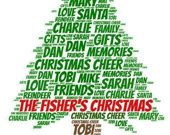 Personalised Christmas Word Art Print - A4