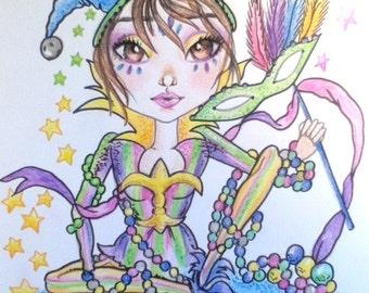 Mardi Gras Girl Big Eye Art Print Harlequin Clown 8.5 x 11