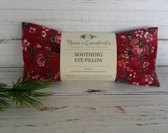 Red Flowers Lavender Flax Seed Cotton Cover - Bridesmaid -Mom to be - Relaxation - Aromatherapy - Essential Oil - Hot or Cold Eye Pillow