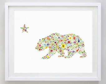 California Bear Floral Watercolor Art Print