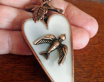 Heart Pendant Copper with Bird,  long, charm, outlander jewelry, gift for her, gift for mom, elongated heart, holiday gift, gift under 50