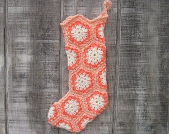 SALE! Peach Crocheted Granny Square Christmas Stocking with ivory and coral accents