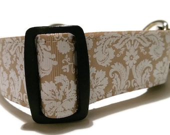 1.5 inch Martingale Greyhound / Lurcher / Whippet Collar - Champagne Damask