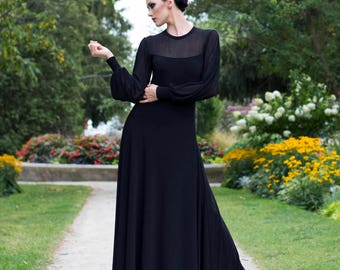 Black Cocktail Dress with Bishop Sleeves-Made to Order