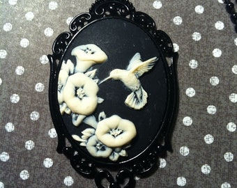 Black White Hummingbird Wedding Cameo Necklace Pendant Ball Chain