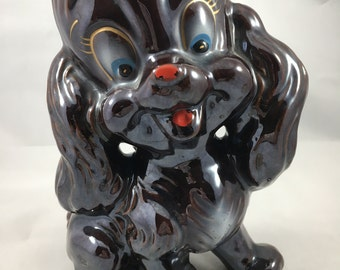 Way Cute Vintage Shiny Brown Dog with Big Blue Eyes Ceramic Figure