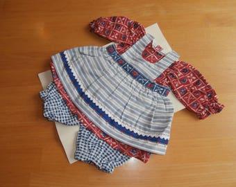 Set of doll's clothing - dress - apron - pants