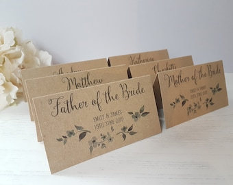 Personalised Kraft Wedding Reception Name Place Cards