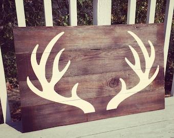 Reclaimed wood antler wall art