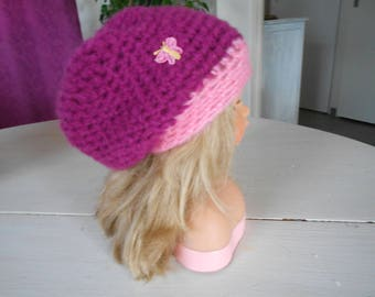 very nice hat for girl in shades of raspberry and pink hand crocheted