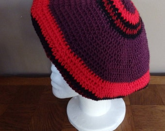 Crochet Beret Shades of Red, wool