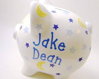 Moon & Stars Piggy Bank - Personalized Piggy Bank - Solar System Bank - Kids Piggy Bank - Ceramic Bank - with hole or NO hole in bottom