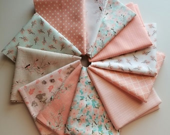 Moda Lullaby Peach (pink) Fat Quarter Bundle - Kate and Birdie Paper Co (12 prints, 3 yards total)