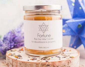Fortune Soy Wax Candle - Magic Candle - Wicca Candle - Abundance - Prosperity