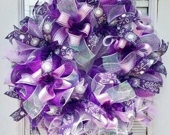 Deco mesh wreath, Spring wreath for front door, purple wreath, summer wreaths for front door, everyday Wreath, Summer Deco Mesh wreath