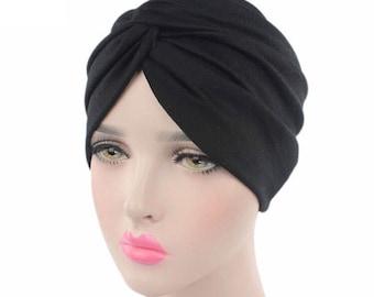 Black wrap head cap turban Hijab beanie chemo hat
