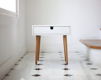 White Nightstand / Bedside Table, Mid-Century style 1 or 2 drawers