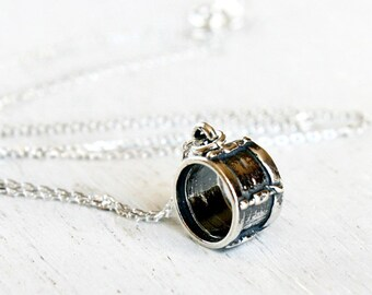 Sterling Silver Drum Necklace, Musical Instrument Necklace, Music Necklace