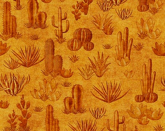 Southwest Fabric - Cactus - Desert Fabric -Southwest Soul - Dan Morris Quilting Treasures - 26641  S Gold - Priced by the half yard