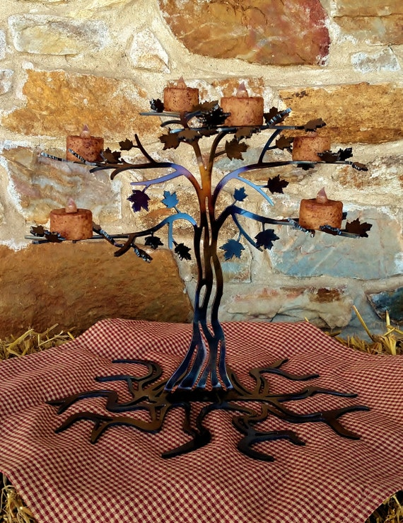 Tree of life, tea light holder, metal art sculpture, home decor, gift for her, table centerpiece, plasma cut metal art, handmade metal craft