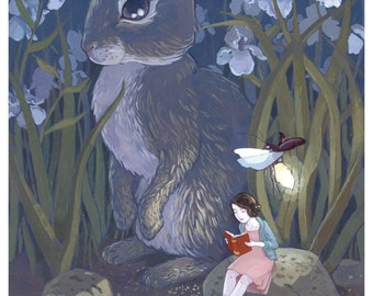 Rabbit and Girl Reading Print - 5x7 Print