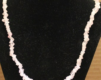 Cat's Eye Light Pink Chipped Glass Necklace
