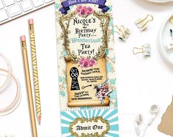 ALICE IN WONDERLAND Invitation, Alice in Wonderland Ticket Invitation,Printable Invitation,Tea Party Invitation,Alice in Wonderland Birthday