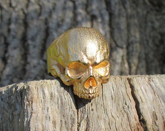 Skull Ring - Gold plate Steel (and other finishes available)