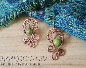 Copper Wire Earrings with Green Stone