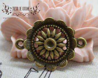 Set of 10 QZW011 charms, Bronze, flowers