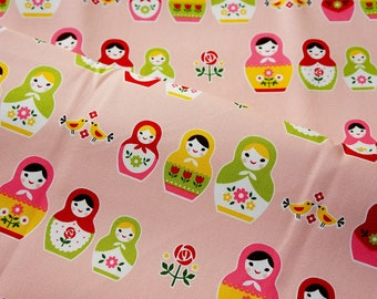 Cotton heavy Canvas Matryoshka Russian dolls fabric Half meter 19.6 by 42 inches