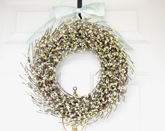 Green Spring Wreath - White berries with green tips - Easter Wreath - Front door decor  - year round decor