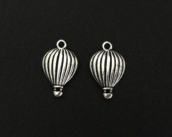 Hot Air Balloon Pendant. Lot of 10 / 20 / 30 / 40 / 50 / 100 PCS Silver Finished 3D Hot Air Balloon Charms. Handmade Craft Supplies.