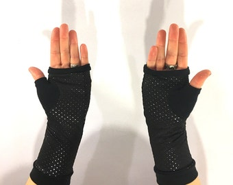 Metallic Spandex Fingerless Gloves, Arm Warmers, Thumbholes, Wrist Warmers, Black Gloves, Handwarmers, Gothic Gloves, Polka Dot Gloves