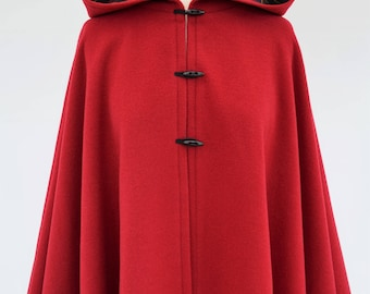 Red Wool Cape, Tartan Lined Cape, Wool Hooded Cloak, Red Cape Coat, Outlander Cloak, Scottish Tartan Jacket, Medieval Poncho Cloak