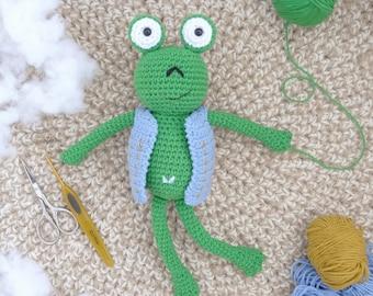 Amigurumi Frog, frog toy for kids, animal handmade crocheted Plush