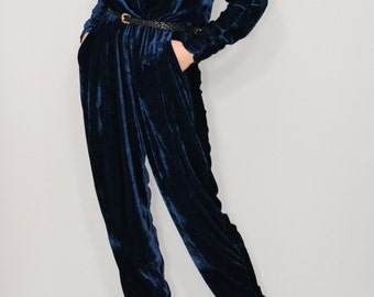 Blue velvet jumpsuit Long sleeve jumpsuit Batwing jumpsuit  Navy jumpsuit dark blue dress