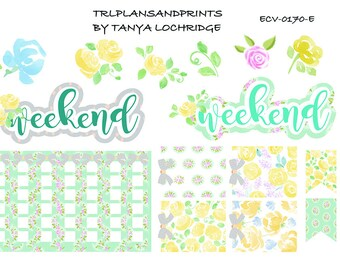ECV-0170-E Stickers - Spring Softness! Boho/Shabby Chic Weekend Banner/Flags/Checklist - Erin Condren, Happy Planner, Notebooks, MAMBI