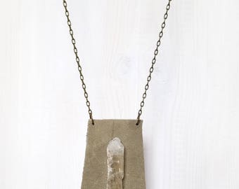 LEATHER + CRYSTAL SHIELD || quartz shard on reclaimed leather pendant necklace