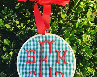 Monogrammed Ornament, Embroidery Hoop Ornament, Embroidered Ornament, Christmas Ornament