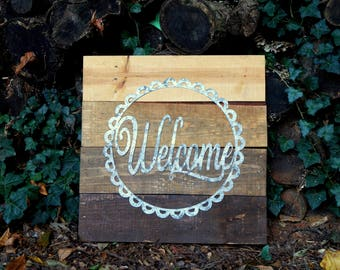 Metal and Reclaimed Wood Welcome Sign
