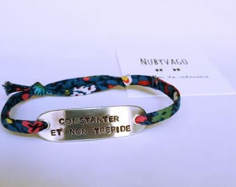 Custom bracelet with Liberty London lanyard/steel Chain