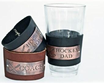 Hockey Dad Reusable Pint Glass Sleeve - Leather Pint Glass Sleeve - Gift For Hockey Dad - Groomsmen Gift - Custom Pint Glass Sleeve
