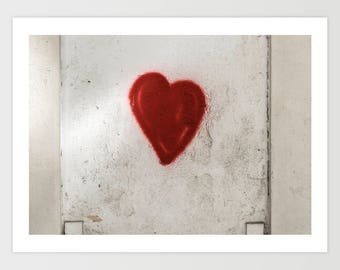 Graffiti Heart Print, Large Art Print, Fine Art Photography, Red Grey Wall Art, Girlfriend Gift for Her, Romantic Gift, Instant Download