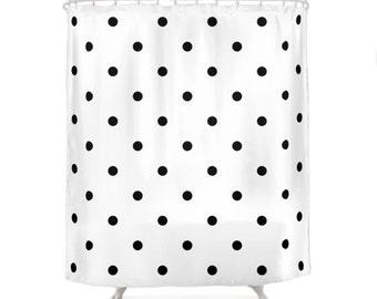 2 Black and White Color Options Polka Dots Shower Curtains, Bathroom Shower Curtain, Minimal Pattern Design, Home Decor, Vintage Art